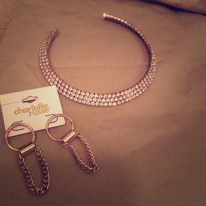 Lovely Diamond Accent Choker & gold-tone earrings
